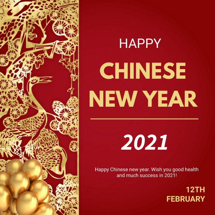 Chinese new year greetings Instagram-opslag template