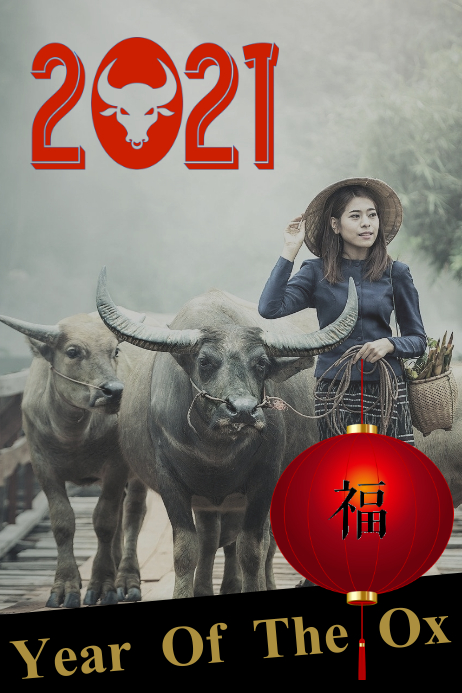 Chinese new year/lunar/ox/China/party/zodiac template
