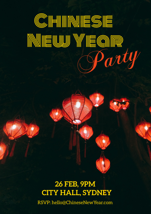 Chinese new year party A4 template