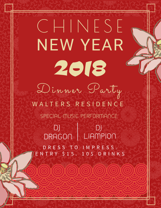 Chinese New Year Party Invitation Template Iflaya (Incwadi ye-US)