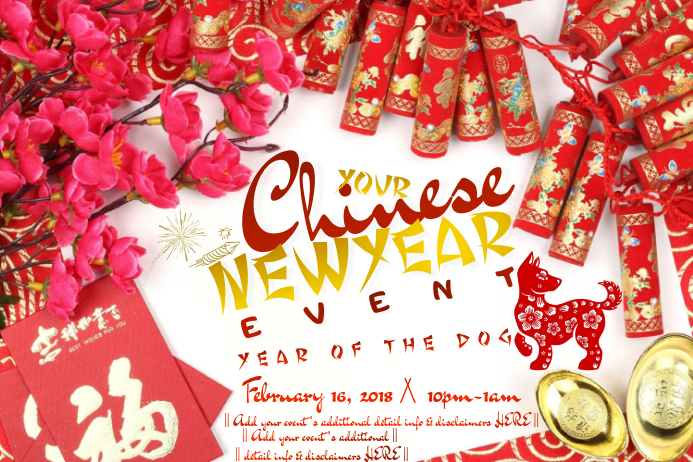 chinese new year red gold cherry blossom fireworks coin template