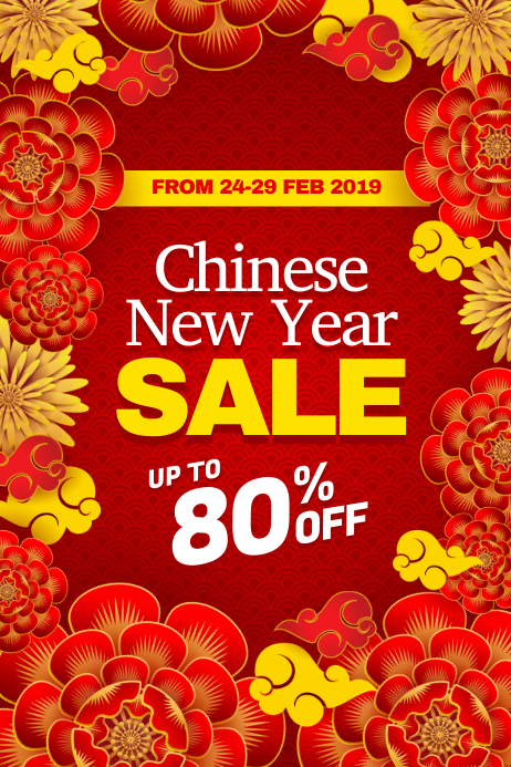 Chinese New Year Sale Discount Poster Flyer