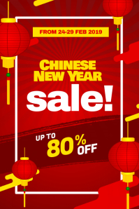 Chinese New Year Sale Discount Promotion Poster Flyer