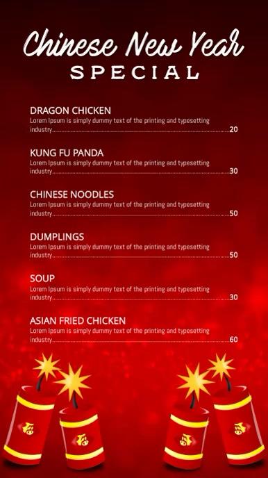 Chinese New year specials menu