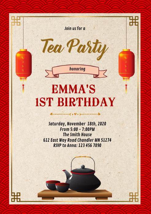 Chinese tea theme party invitation A6 template