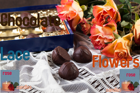 Chocolate, rose, candles