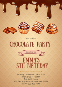 Chocolate birthday party invitation
