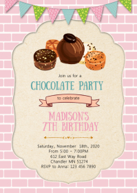 Chocolate birthday party invitation A6 template