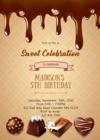 Chocolate Heaven candy party invitation A6 template