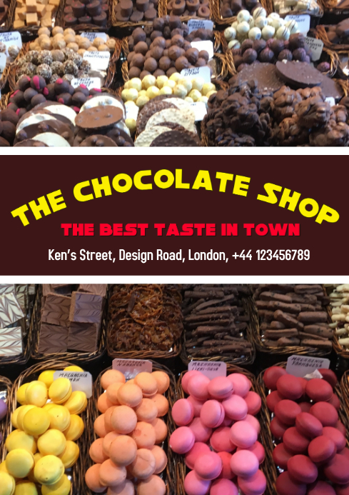 Chocolate shop, sale, flyer poster