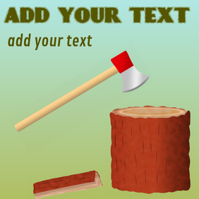 chopping wood with an axe tool
