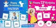 Christening & Birthday Cartel enrollable de 3 × 6 pulg. template