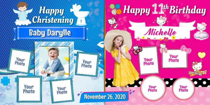 Christening & Birthday Rul-op banner 3' × 6' template