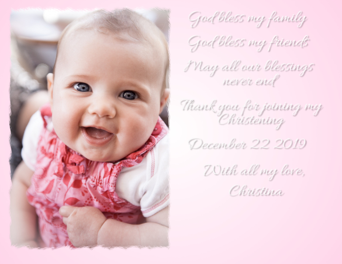 Christening Baptism Birthday Birth announcement
