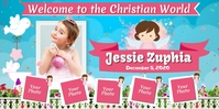 Christening Roll Up Banner 3' × 6' template