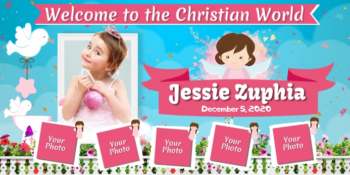 Christening Roll Up na Banner 3' × 6' template