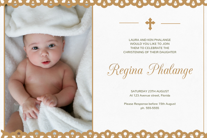 Christening invitation card template postermywall christening invitation card template stopboris Gallery