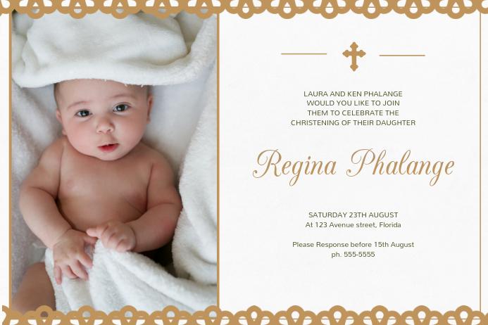 Christening Invitation Card Template โปสเตอร์