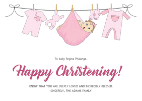 Christening Thank You Card for baby Girl