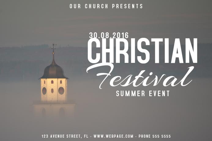 Christian church festival event poster template landscape