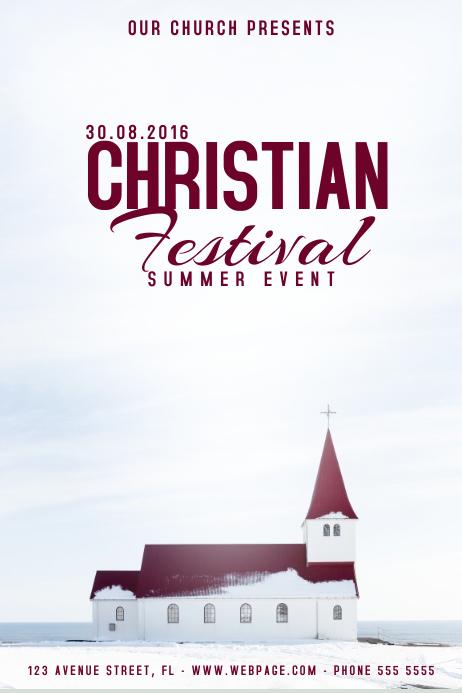 Christian church festival event flyer poster template