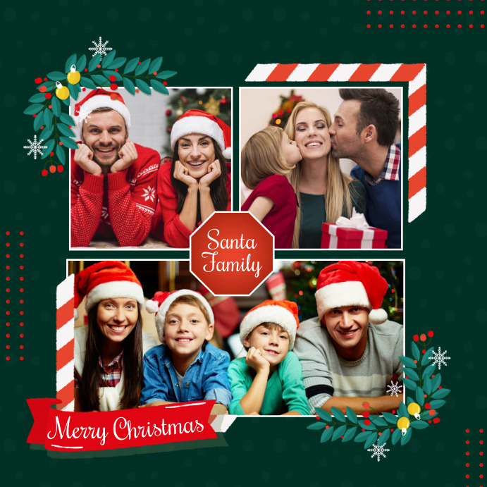 Christmas, Christmas collage, family collage Instagram 帖子 template