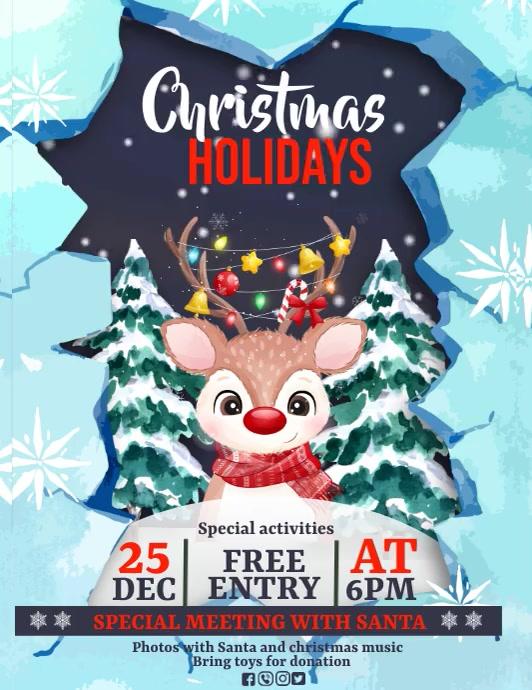 Christmas, Christmas fair, winter wonderland Folheto (US Letter) template