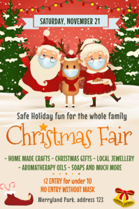 Christmas, Christmas fair, Winter wonderland Cartaz template