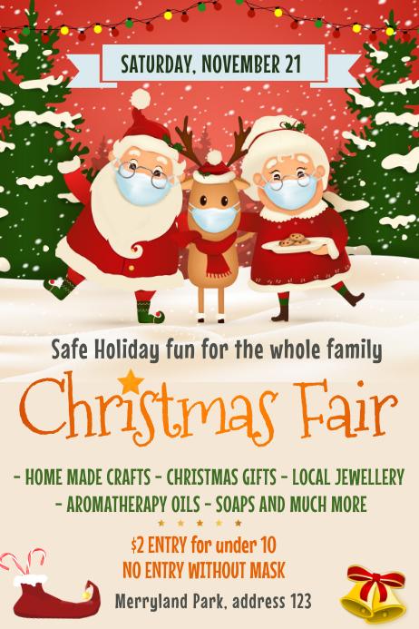 Christmas, Christmas fair, Winter wonderland Poster template