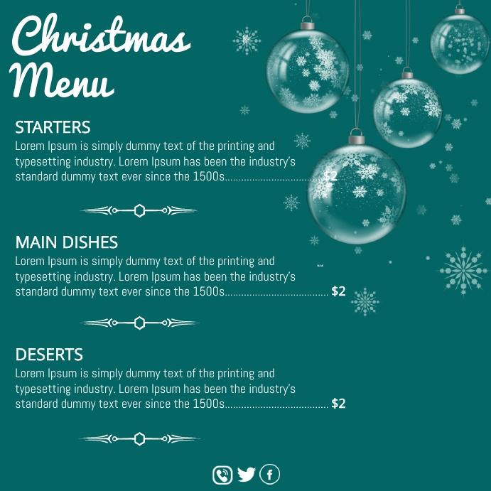 Christmas, Christmas menu Instagram 帖子 template