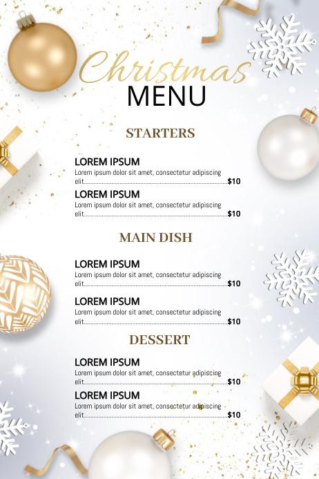 Christmas, Christmas menu Plakat template