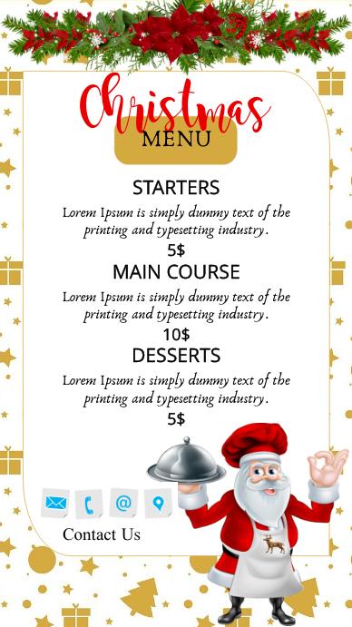 Christmas, Christmas Menu Ekran reklamowy (9:16) template