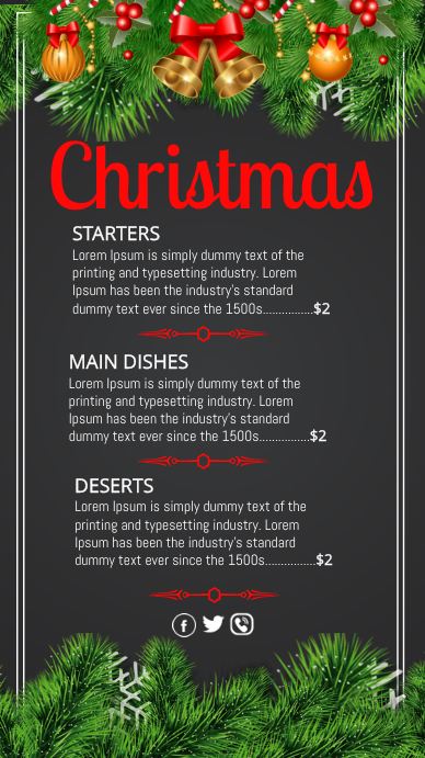 Christmas, Christmas menu Digitalt display (9:16) template