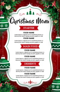 Christmas, Christmas menu Half Page Wide template