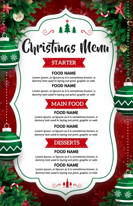 Christmas, Christmas menu Halv side bred template