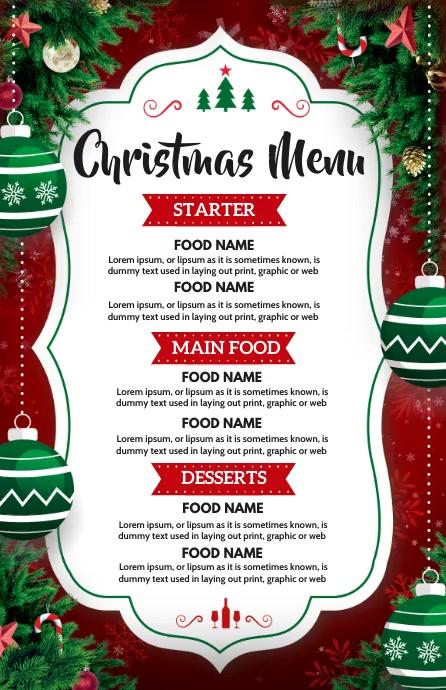 Christmas, Christmas menu Half Page Wide template