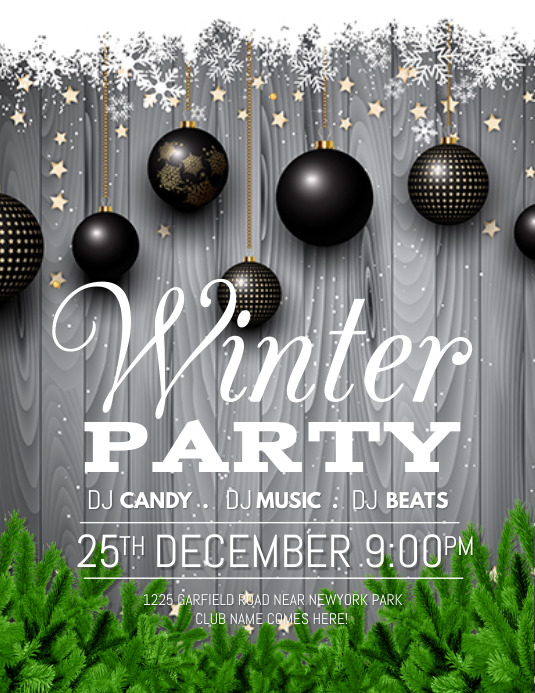 christmas, winter, holidays, winter party Flyer (US Letter) template