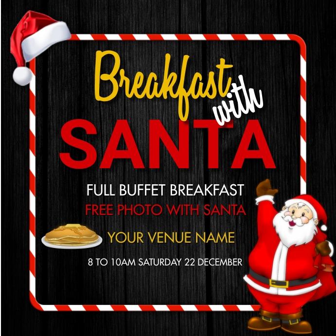 Christmas,breakfast with santa,menu 方形(1:1) template