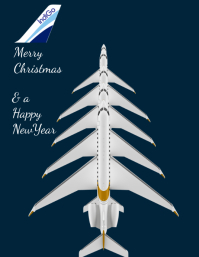 Christmas & newyear Aviation poster template
