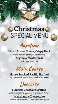 christmas , christmas menu, menu Digital Display (9:16) template