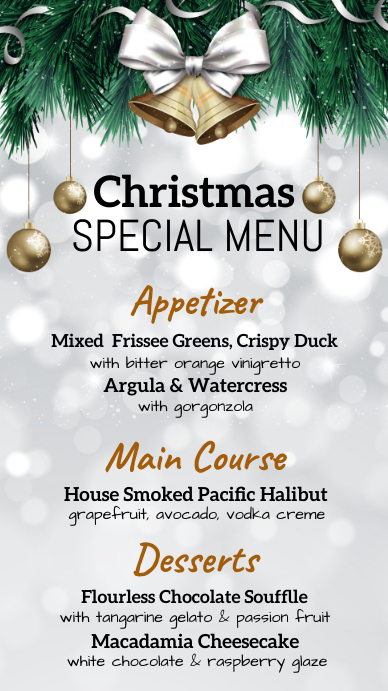 christmas , christmas menu, menu Digitalt display (9:16) template