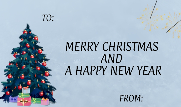 Christmas and New Year Greeting Card Tag template