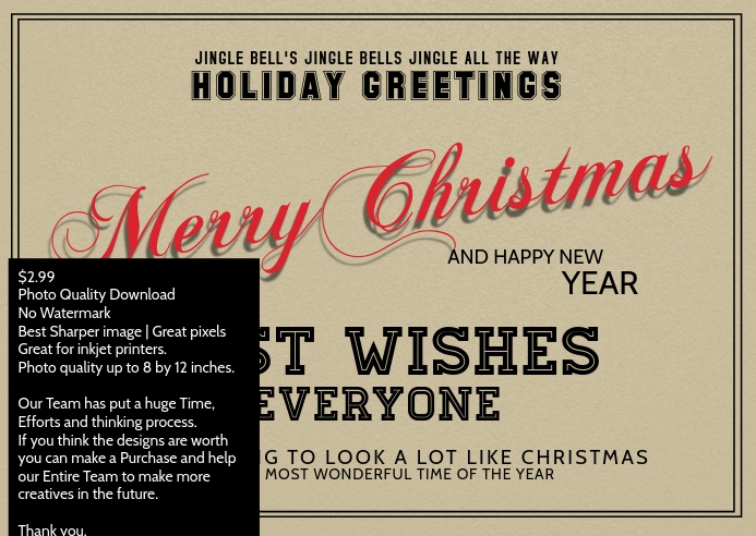 Christmas and newyear best wishes postcard