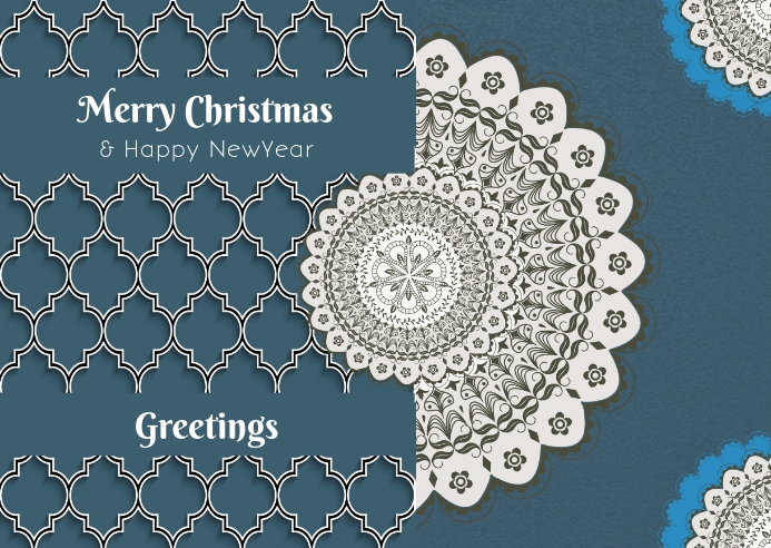 Christmas and newyear greeting card flyer