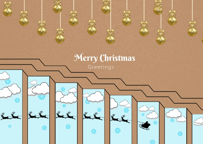 Christmas and newyear poster Postkort template