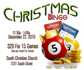 Christmas Bingo game night fundraiser Umugqa Omkhulu template