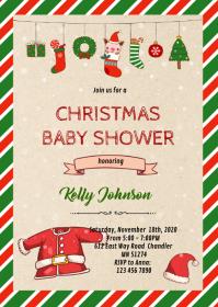 Christmas baby santa shower invitation A6 template