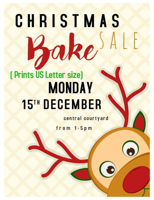 Letter christmas bake sale