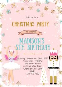 Christmas ballet birthday party invitation