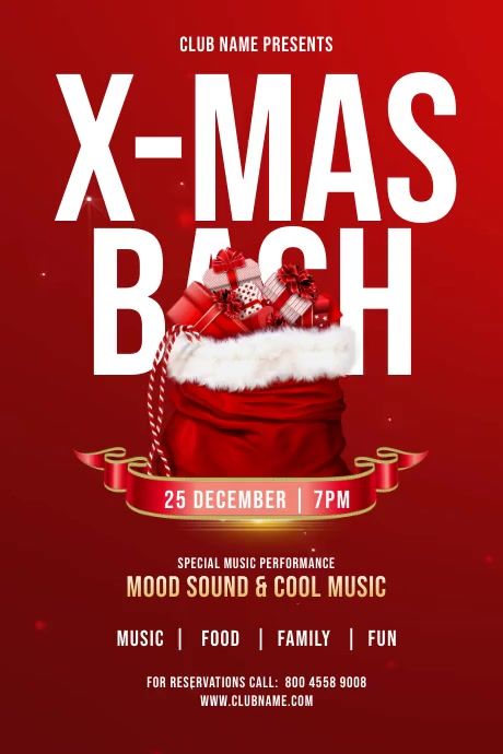 Christmas Bash Party Flyer Plakat template